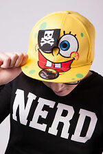 NEW RETRO NOVELTY CARTOON PIRATE SPONGE BOB SNAPBACK FLAT PEAK CAP HAT - YELLOW