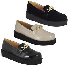 LADIES WOMENS FLAT SLIP ON LOAFERS PUMPS CREEPERS GOTH PUNK COMFY SHOES SIZE UK