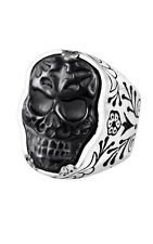 King Baby Studio Carved JET Day of the Dead skull in silver frame ring K20-5676
