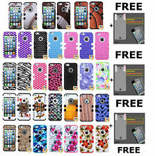 Design Silicone Rubber TUFF HYBRID Hard Case Cover Snap On 3 in 1 iPhone 5 5S