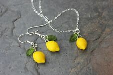 Lemon Grove Necklace & Earring Set - Yellow & green glass beads, sterling silver