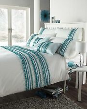 TURQUOISE BLUE COLOUR STYLISH STRIPED RUFFLE MODERN DUVET COVER LUXURY BEDDING