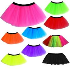 NEON TUTU SKIRTS 3 LAYERS UV 10 COLOURS 1980S FANCY DRESS HEN PARTY 8-16 & 16-22