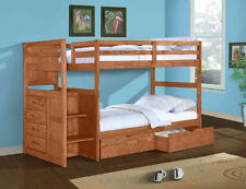 Twin/Twin or Full Stairway Bunk Bed - Donco Kids - Wood -  w/Storage Chest DFW