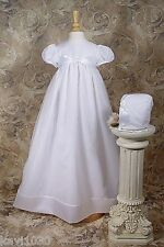 Girls White Christening Baptism Gown Heirloom Handmade Organza 3M 6M 12M / OR49