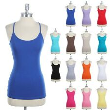 Spaghetti Y Back Tank Top Spaghetti Strap Camisole Solid Plain Cotton Easy Wear