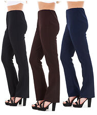 Ladies Women's Finely Ribbed Bootleg Stretch Trousers Pants Unbranded Size 10-24