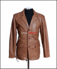 Rocco Tan Classic Mens Smart Buttoned Real Soft Lambskin Leather Blazer Jacket