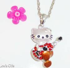 childs hello kitty necklace choose length & colour for girls women in gift pouch