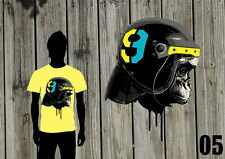 T-Shirt MONKEY HELMET APE-TATTOO-VINTAGE-HAPPINESS - Made in Colours