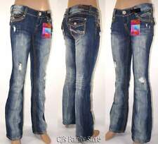 Almost Famous Jeans Juniors Low Destroyed Rhinestone Bootcut Denim #2320
