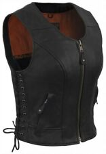 True Element Womens Fitted Side Laced Leather Motorcycle Vest w/Zip (XS-3XL)