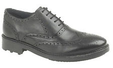 Mens Brand New Roamers Black Leather Formal Brogues Shoes Size UK 6 - 12