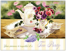 TEA  Party SHOWER Birthday Anniversary Party INVITATIONS Flat Cards Env