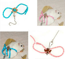 Cute Adjustable Rat Mouse Harness Lead Small Ferret Hamster Nylon Rope Blue Pink