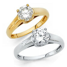 14K Solid Gold 1.25ct Round Cut Simulated Diamond Solitaire Engagement Ring