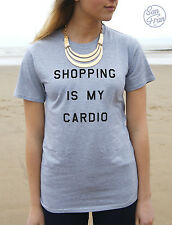 * SHOPPING IS MY CARDIO Funny T-shirt Top Fashion Swag Slogan The Mindy Project*