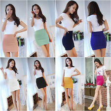 New Women Elegant A Line Candy Color Stretch Mini Skirt Fitted Slim Tight Shorts