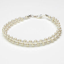 White Glass Pearl and Clear Ab Seedbead Double Bracelet