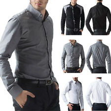 Hot Mens Luxury Patched slim fit casual business shirts long sleeve dress shirts