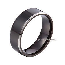 6mm 8mm Black Stainless Steel Plain Comfort Fit Wedding Band Ring Size 5-14 HS13