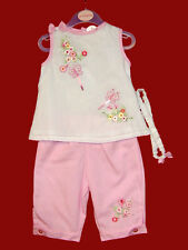NEW ZIP ZAP CLASSY BABY GIRLS EMBROIDERED  TOP & TROUSERS OUTFIT SET 0-18 Months