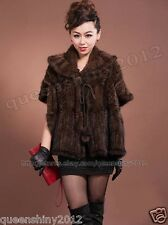 100% Real Knitted Mink Fur Poncho Scarf Cape Wrap Stole Coat Evening Women Warm