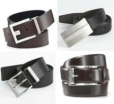 HUGO BOSS Men's Leather Belt Assorted Styles-100% Cow Skin, Handmade, Authentic