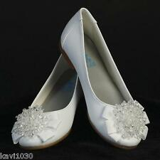 Girls WHITE Dress Shoes FLATS Pearl Bow Crystal Adornment Communion Size 9-4