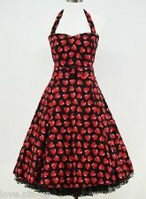 ROBE COEUR ROUGE RÉTRO/ VINTAGE/ ROCKABILLY - PIN UP / T 36/38 - 52/54