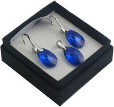 STERLING SILVER Earrings/Set made with  Swarovski Crystals 16mm PEAR
