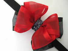 Baby Girl Christmas Holiday Elegant  Sheer Organza Glitz Hair Bow Headband Clip