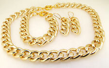 "17""-36""14X19MM CUT SHINY Light GOLD ALUMINIUM CURB LINK CHAIN NECKLACE BRACELET"