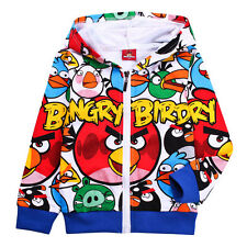 ANGRY BIRDS KIDS BOYS LONG SLEEVE TOP HOODIE FOR OUTDOOR SPORTS SCHOOL 2-11 YRS