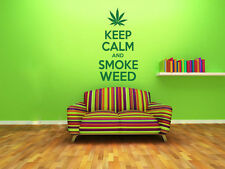 Keep Calm and Smoke Weed Modern Wall Art Quote, Wall Sticker, Wall Decal