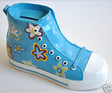 New Large Sneakers Shoe Piggy Bank Money Coin Jar Ceramic Flowers Kids Converse