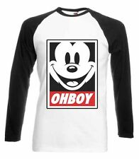 MICKEY MOUSE OHBOY BASEBALL T-SHIRT OBEY YMCMB GANG DOPE SWAG OFWG DISOBEY OBOY