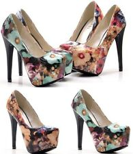 Women's Super High heels fashion Oil painting style platform sexy Single Shoes