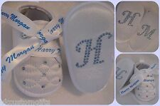 BABY BOYS WHITE CHRISTENING CROSS SHOES BOOTS NAME CROSS CRYSTALS PERSONALIZE