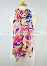 "72"" Long Bright Color Colorful Leopard Animal Print Scarf Wrap Shawl Fashion"