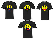 PACMAN T SHIRT Funny Faces Mens Cool Retro Gamer Men Tee - Angry Smiley Sad Face