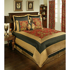 BEAUTIFUL 8PC RICH ELEGANT CLASSIC GOLD BLACK RED FLORAL COMFORTER SET ALL SIZES