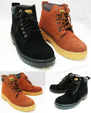 "Men's Work Boots Suede Leather 6"" Lace-Up Cushioned Padded Winter Shoes, Sizes"