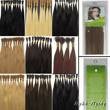 "16"" 18"" 20"" Stick-I shape tip straight human hair extensions 14 colors styled"