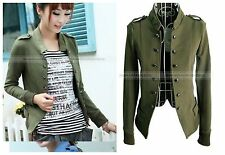 Women Long Sleeves Jacket Cotton Blend Double Breasted Coat Top WCOT257