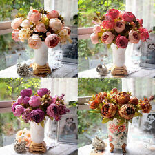 1 Bouquet Artificial Peony Silk Flowers Fake Leaf Home Wedding Party Decoration