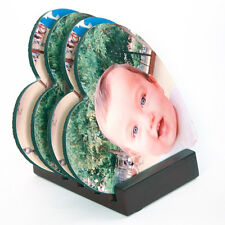 Personalised HEART COASTERS plus FREE WOODEN COASTER STAND - EXCELLENT GIFT