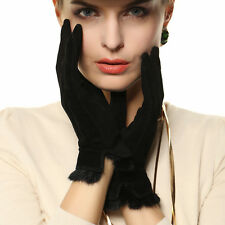 Warmen Lady Geniune Pigskin Suede Leather Gloves Rabbit Fur Trim