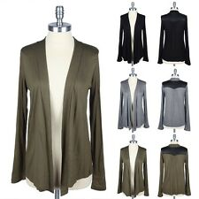 Faux Leather Shoulder Accent Long Sleeve Open Draped Cardigan Easy Wear S M L