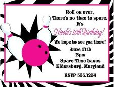 Bowling Pink Pins Lane Birthday Party Invitations Personalized Custom
